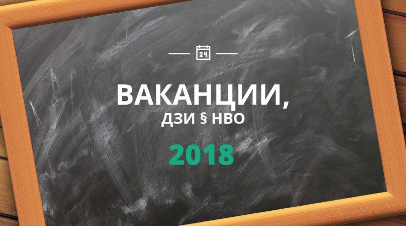 Ваканции, НВО и ДЗИ 2018